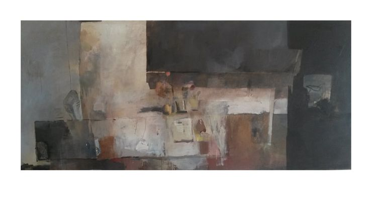 studio table/ oil on canvas/ 100 x 220 cm