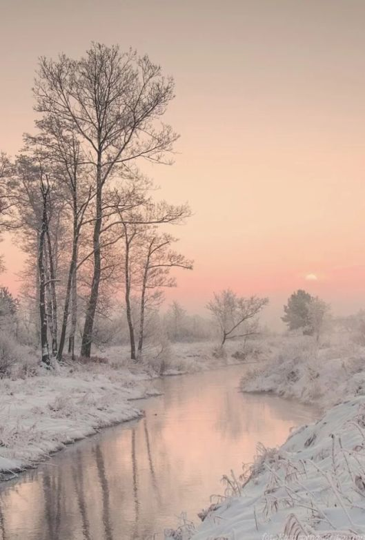 A river, Early morning. Subtle tones Of pink, white and grey. The world seems somehow Muffled by The first freeze.  Caro Ness author