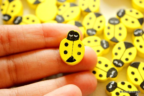 Yellow Ladybug Wood Beads x 10 by KnicKnackNook on Etsy