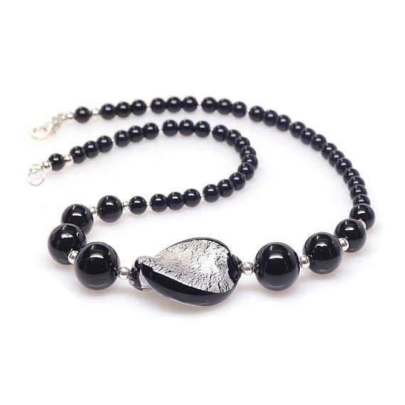 Black Silver Venetian Murano Glass Necklace Murano Glass