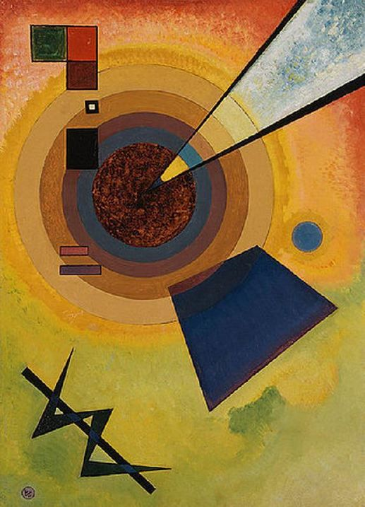 """Wassily Kandinsky. Green and red, 1925 Oil on cardboard 27.2 × 19.3"""" (69.0 × 49.0 cm) London, Christie's"""