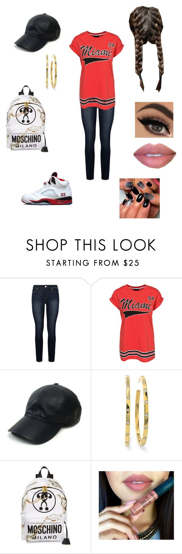 """""""Miami Heat Game Night"""" by azariel-r ❤ liked on Polyvore featuring Paige Denim, WithChic, Freaker, Vianel, Ippolita and Moschino"""