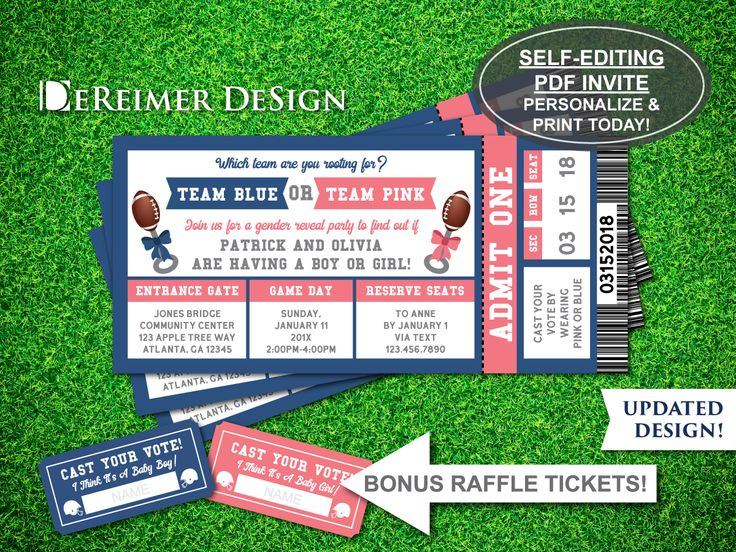 Gender Reveal Invitation, Sports Ticket Invitation, Gender Reveal Party Sports Ticket, Football, Pink, Blue, Self-Editing PDF Invite