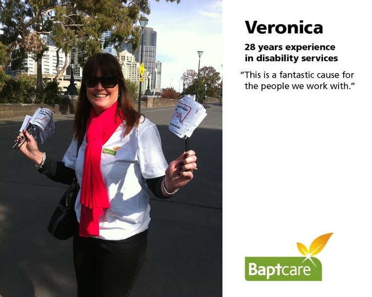 "Baptcare staff share why a National Disability Insurance Scheme is important to them. #NDIS    Veronica (28 years experience in disability services)  ""This is a fantastic cause for the people we work with."""