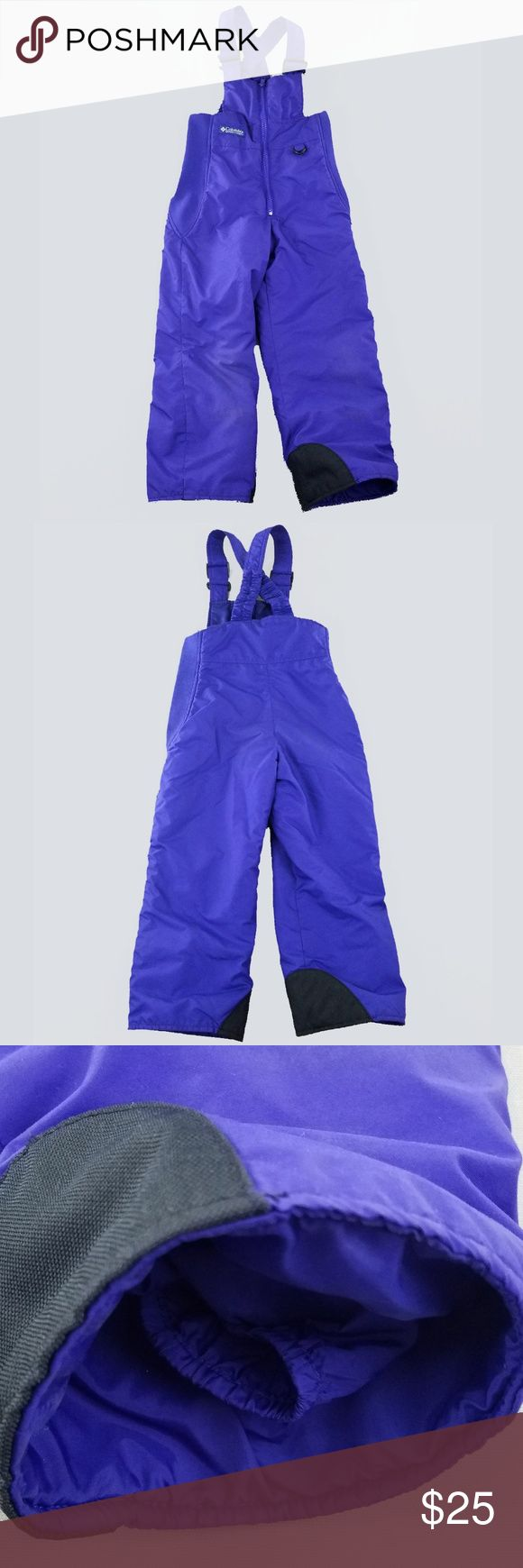 """Columbia Girls Snow Bibs 4 5 Snowpants Overalls Columbia Girls Snow Bibs 4 5 Snowpants Overalls Purple  Seam to seam across chest: 11.5"""" Inseam: 16.5"""" Top of shoulder to bottom (length): 38""""  Very good condition with mild knee wear Columbia Bottoms Overalls"""