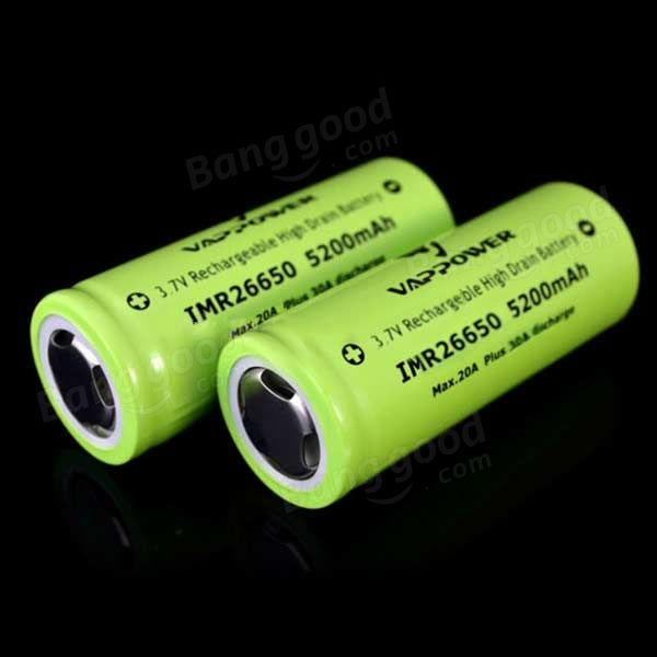 VAPPOWER 26650 5200mAh 20A 3.7V Li-Ion Rechargeable Battery Sale-Banggood.com
