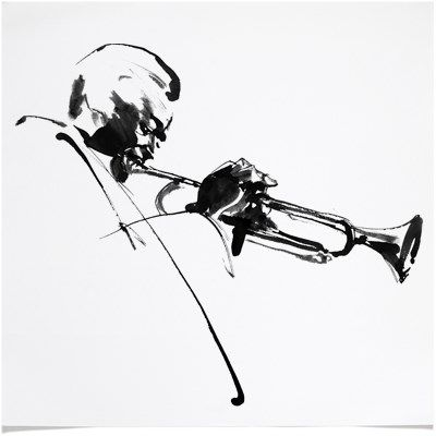 illustration of Miles Davis - Black & White Ink Jazz Music Art  Miles Davis, Playing Trumpet Scene drawing for an on-going CD and LP music album cover. I was commissioned by the major music record company in NY to draw a series of famous Jazz giants.  I used Black ink with brush, later on printed with silk screen.
