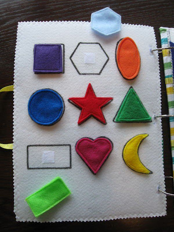 Teach kids who are blind about shapes with this DIY tactile book! This is a very basic shape matching page. Fabric markers were used to make the outlines. Use tactile glue or paint and velcro!