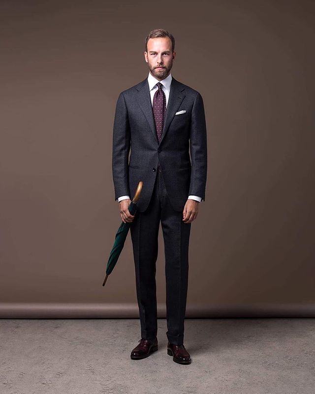 "Formal wear, Suit - Ring Jacket for The Armoury, Shirt - Eton ""high cutaway"", Tie - Shibumi, Shoes - Yanko through Skolyx, Umbrella - Fox Umbrellas, Photo: Ted Olsson, #menswear #inspiration #wiwt #ootd #ringjacket #thearmoury #dormeuil #sportex #fox #etonshirts #yanko #Shibumi #mensstyle #fotograftedolsson"
