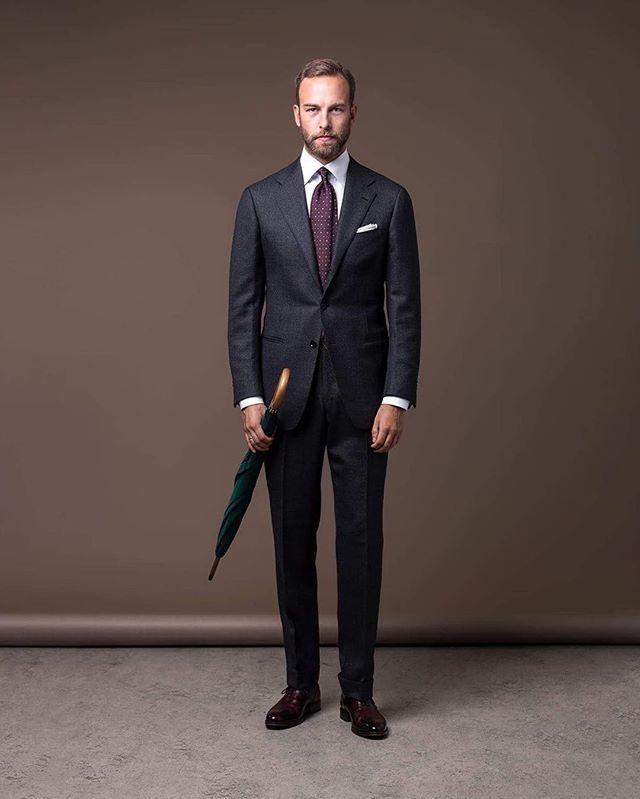 "Formal wear, Suit - Ring Jacket for The Armoury, Shirt - Eton ""high cutaway"", Tie - Shibumi, Shoes - Yanko through Skolyx, Umbrella - Fox Umbrellas, Photo: Ted Olsson, #menswear #inspiration #wiwt #ootd #ringjacket #thearmoury #dormeuil #sportex #fox #etonshirts #yanko #Shibumi #mensstyle #fotograftedolsson"