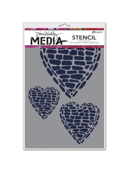 Dina Wakley Media Stencils 6x9inch Pebble Heart