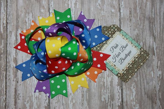 Rainbow Hair Bow - Funky Hair Bow -  5 inch Hair Bow - Birthday Hair bow - Rain Bow Bow - Over the Top