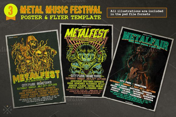 Metal Music Festival Poster & Flyer by Rooms Design Shop on Creative Market