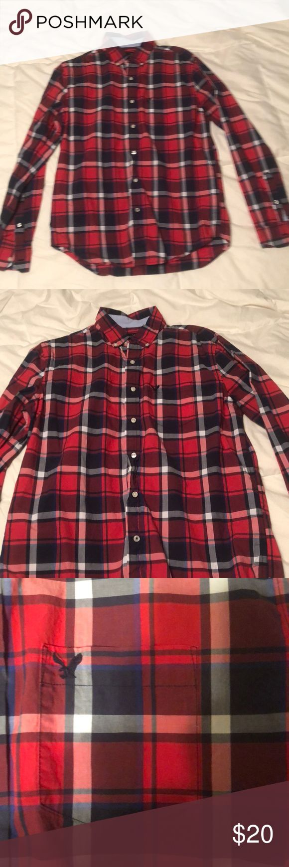 American Eagle Button Down (M) American Eagle Button Down:  -Medium -Red, white, blue plaid  -NOT FLANNEL MATERIAL -button wrist cuffs -buttons to secure tie at collar American Eagle Outfitters Shirts Casual Button Down Shirts