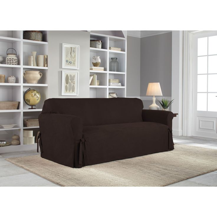 Tailor Fit Relaxed Fit Smooth Suede Sofa Slipcover (Chocolate), Brown (Solid)