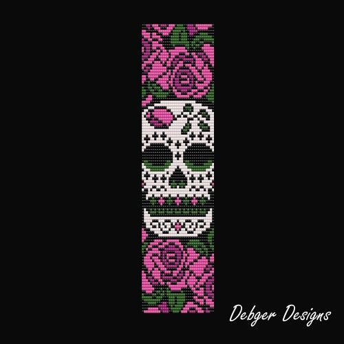 Sugar Skull - Loom Bracelet Cuff Pattern | DebgerDesigns - Patterns on ArtFire