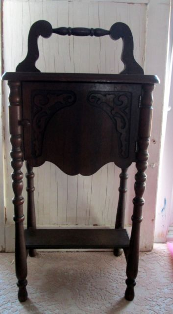 Vintage antique humidor stand tobacco cigar table
