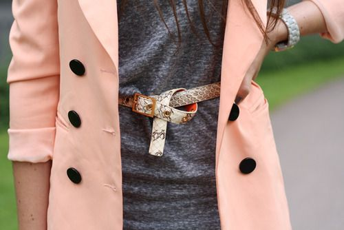 belt.Pink Coats, Colors Combos, Fashion, Style, Pale Pink, Jackets, Trench Coats, Belts, Pink Blazers