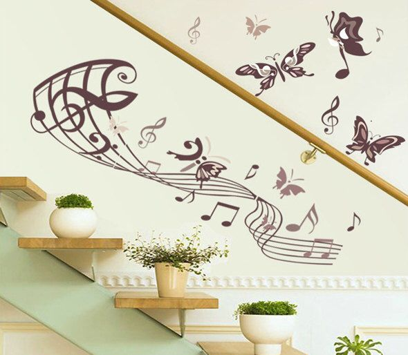 Note Butterfly Wall decal - Music decal- Music Sticker - Note Sticker - Butterfly decor - Vinyl Wall Stickers Art Graphics, Removable, 184 by HomeFreeStyle on Etsy https://www.etsy.com/listing/185054846/note-butterfly-wall-decal-music-decal