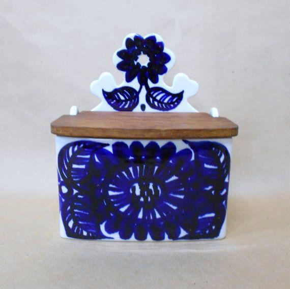 Arabia Köökki Cobalt Blue Salt Box Vintage by IndigoHeirlooms, $200.00