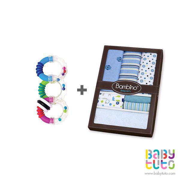 Pack caja de regalo para niño + sonajero mordedor girar y torcer, $16.150 (precio normal). Marca Bambino: http://bbt.to/1oScMAf