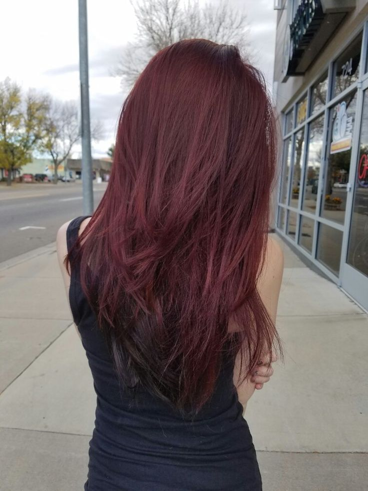 My hair after today. Layers and a darker red on top than i had and just left the black on the bottom. I love it