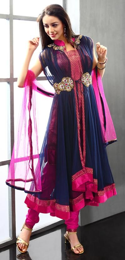 $204.33 Blue Stone Work and Embroidery Net Anarkali Style Salwar Suit 22929