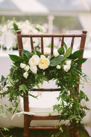 Greenery Chair Garland: Like this for bride's and groom's chairs. Love the chiavari chair in neutral or brown.
