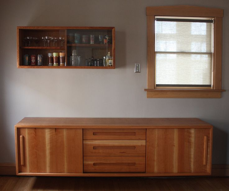Floating Cherry Buffet With Matching Glassware Cabinet Designed And Built  By Brokenpress Design+Fabrication In · Custom FurnitureCabinet ...
