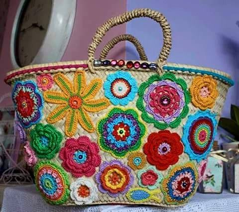 Crochet flower trimmed basket