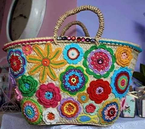 Crochet flower trimmed basket