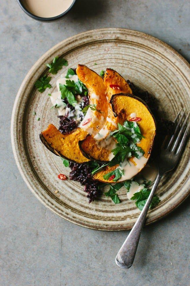 my darling lemon thyme: Sarah B's roasted pumpkin with black rice and tangerine tahini sauce recipe