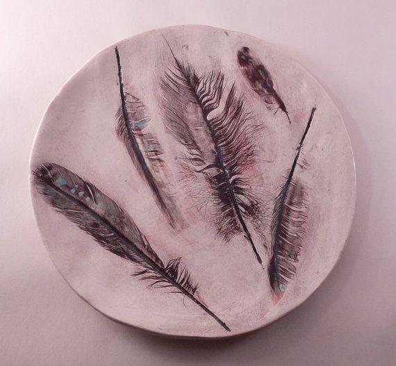 FEATHERS PLATE handmade ceramic ceramic bird by CeramicsNaturalist
