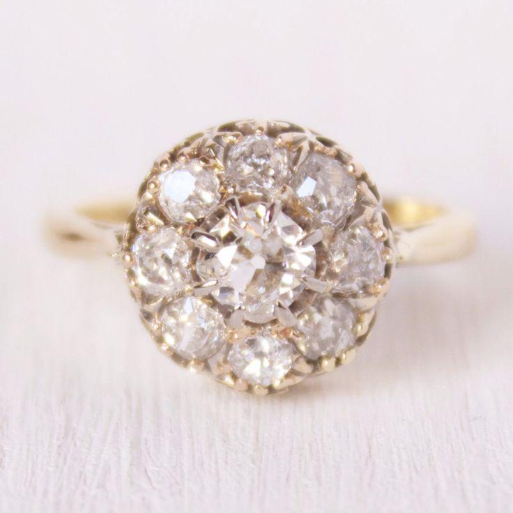 Giselle Vintage Diamond Cluster Engagement Ring – Victor Barbone