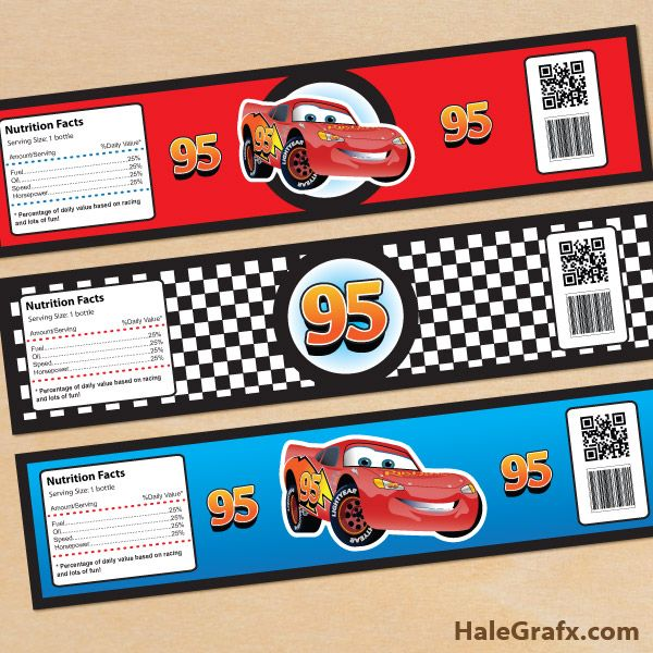 cars bottle labels FREE Printable Disney Cars lightning McQueen Water Bottle Labels