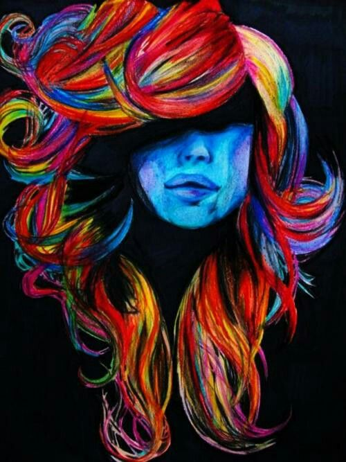 very colorful hair painting gunna do something like this
