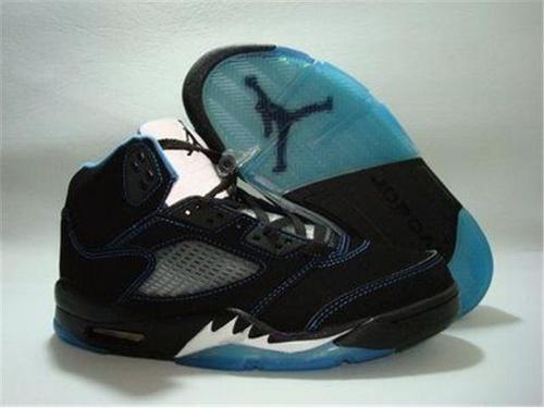 Air Jordan 5 Retro Men Shoes Black Navy Blue Outlet Store