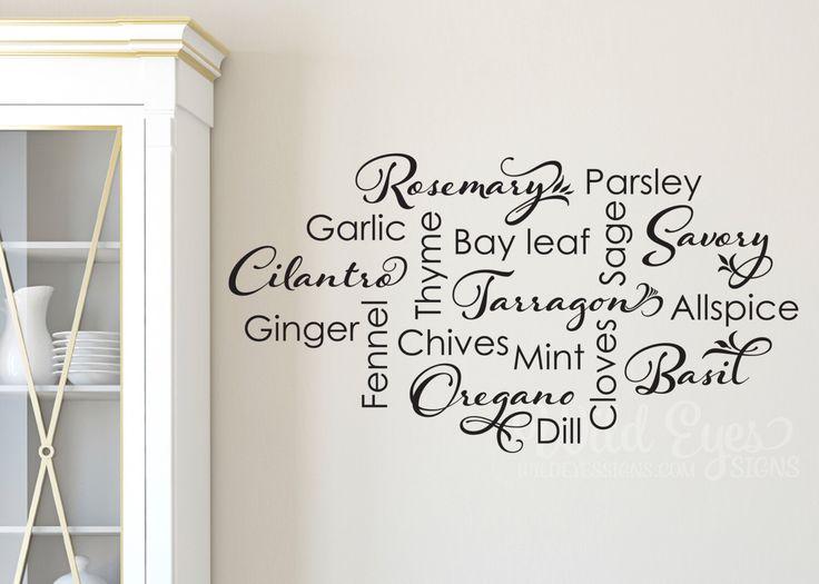 Amazing Kitchen Spice List Wall Decal   Kitchen Wall Sticker Collage, Basil,  Garlic, Oregano