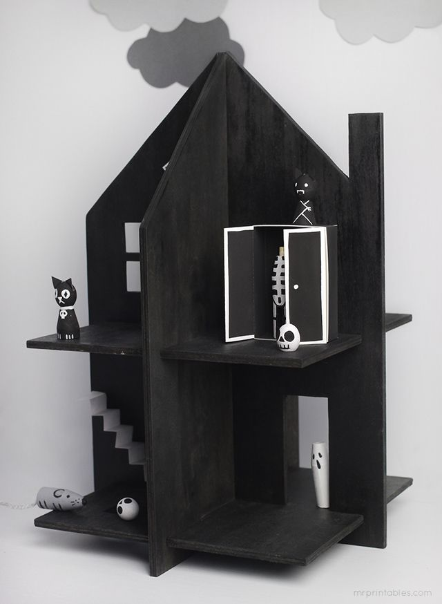 Free Haunted Dolls House printable - Mr Printables Make a haunted house out of wood/cardboard! Instructions and printables for house and wooden pin dolls included on page.