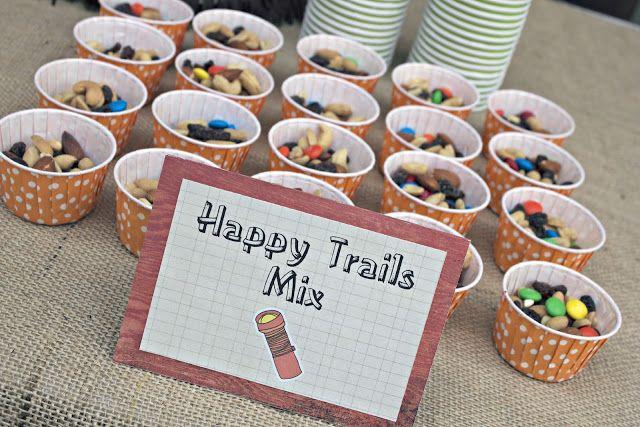 snack idea - *no peanuts*  Use:  raisins, m, crispix cereal, mini marshmallows, pretzel sticks