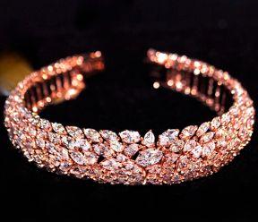 Fancy Light Pink Diamond Bracelet GIA Certified, 18K Rose Gold B&B colored diamonds 2