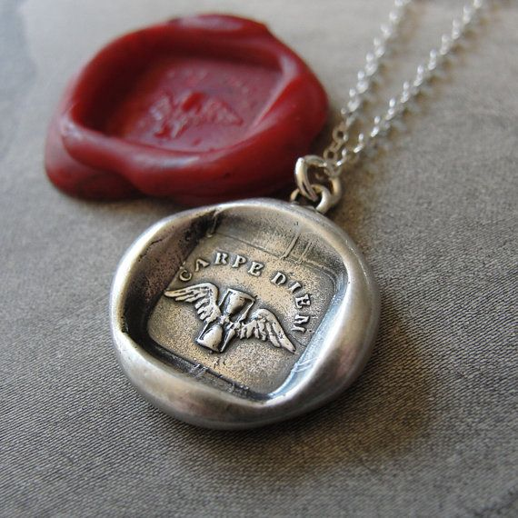 Carpe Diem wax seal necklace - Seize the Day - antique Latin motto with wings and hourglass