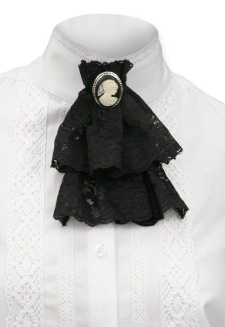 Victorian Lace Jabot - Black - $19.95 - SteamPunk - Woman's