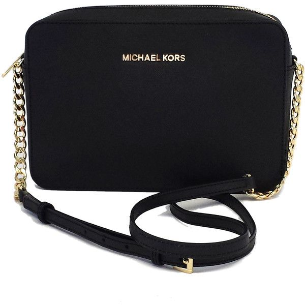 Pre-owned Michael Kors Black Leather Crossbody Bag found on Polyvore