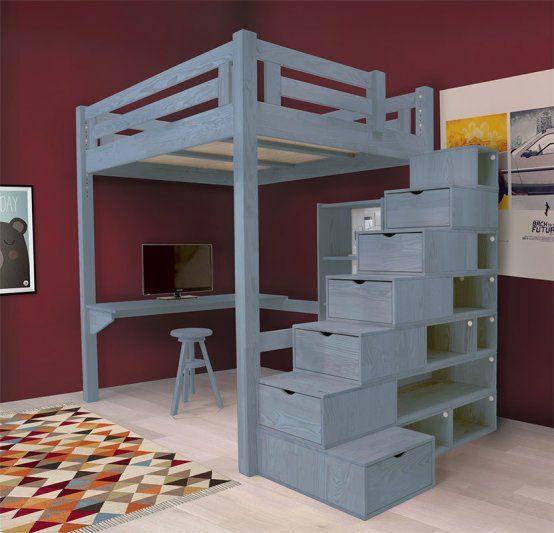 Letto a soppalco Alpage con scala cubo - Abc-meubles.com