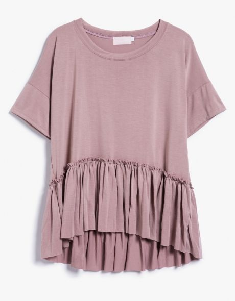 From Farrow, a lightweight flowy top in Dusty Pink.  Features wide crew neckline, dropped shoulders, short sleeves, ruffled hem, high-low hem, flare hem cut and relaxed fit.  •	Lightweight flowy top in Dusty Pink •	Wide crew neckline •	Dropped shoulde