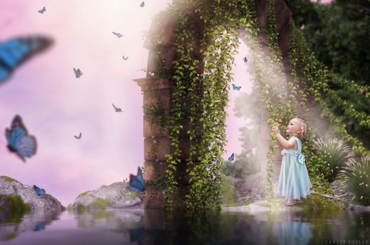 'The Door to Imagination' by Carley Shelly Photography          Whimsical feel with butterflies and little girl. Using digital art to create a magical world.