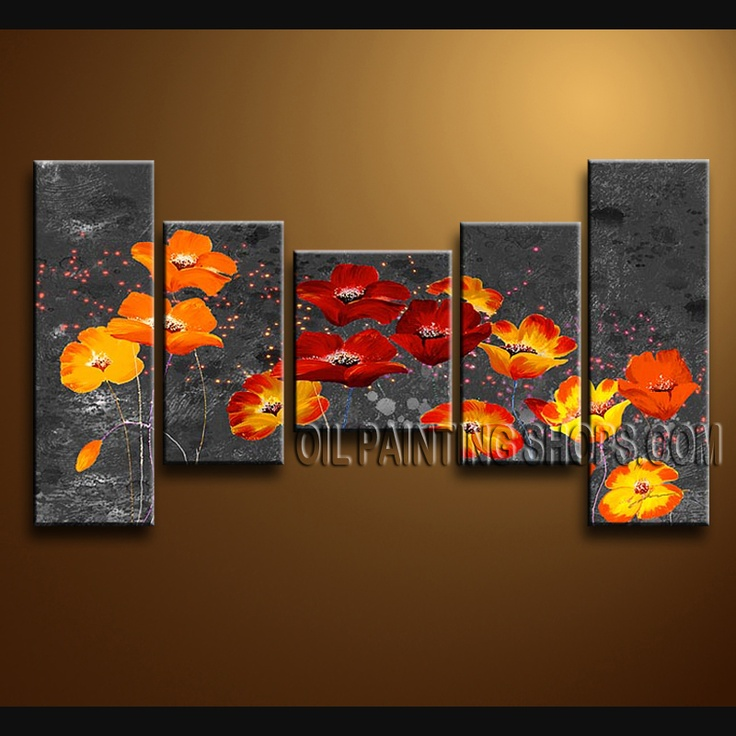 Stunning Contemporary Wall Art Oil Painting On Canvas Gallery Stretched Poppy Flower. This 5 panels canvas wall art is hand painted by Bo Yi Art Studio, instock - $175. To see more, visit OilPaintingShops.com
