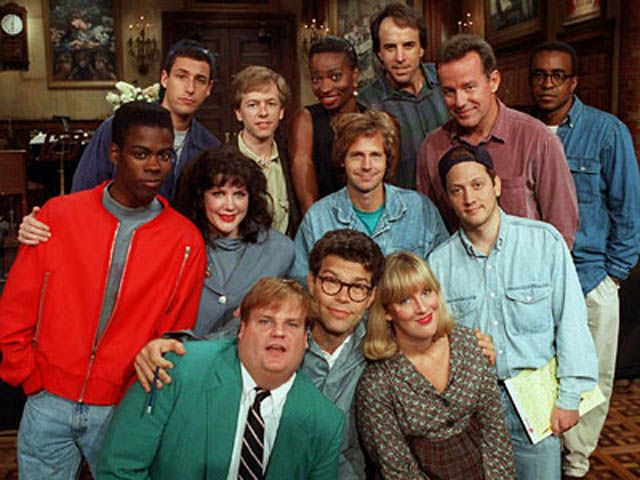 SNL Cast, 1990s: Chris Farley, Adam Sandler, Chris Rock, David Spade, Al Franken, Dana Carvey, Phil Hartman
