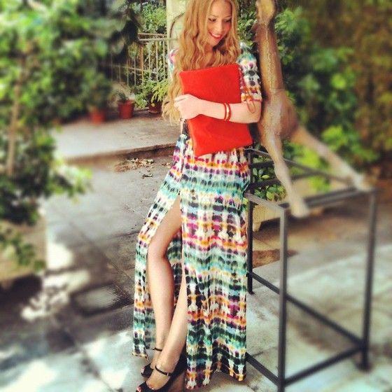 Coccinelle Orange Clutch, Zara Long Dress, Zara Wedges